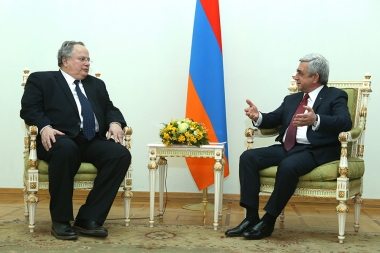 RA President Serzh Sargsyan received Foreign Minister of Greece Nikos Kotzias at the RA Presidential Palace - Photolure News Agency