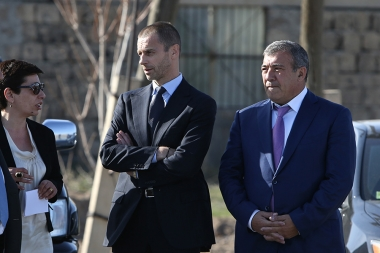 RA President Serzh Sargsyan, UEFA President Aleksander Ceferin and FFA President Ruben Hayrapetyan attended the groundbreaking ceremony of the Football Academy in Vagharshapat, Armavir Province - Photolure News Agency