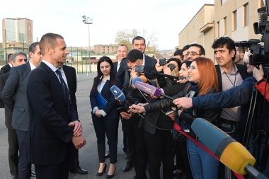 UEFA President Aleksander Ceferin and FFA President Ruben Hayrapetyan hold a joint briefing with journalists - Photolure News Agency