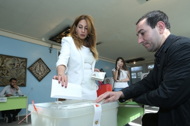 Leader of 'Yerkir Tsirani' Party, candidate for the Mayor of Yerevan Zaruhi Postanjyan votes during the local city council elections in Yerevan, Armenia - Photolure News Agency