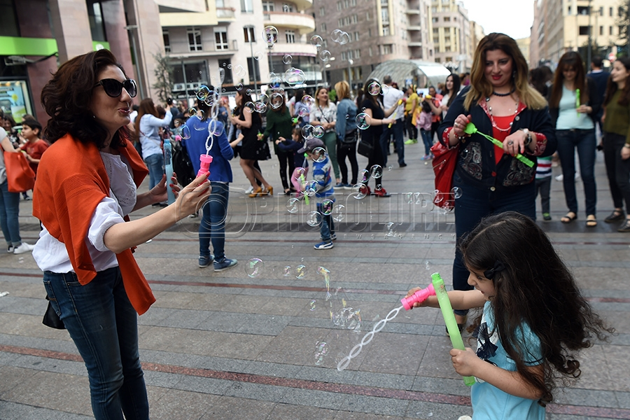 Soap Bubble Festival On The Northern Avenue Of Yerevan Armenia