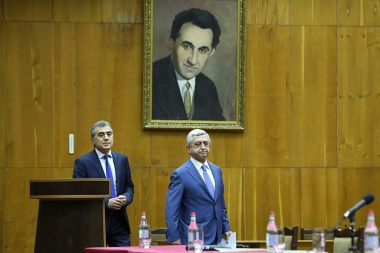 RA President Serzh Sargsyan attended the Annual Reporting Meeting of the RA Chess Federation at the Chess House - Photolure News Agency