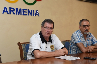 Deputy Chairman of the Armenian Basketball Federation Ara Poghosyan and head coach of the Armenia National Basketball Team Niksha Bavtsevich gave a press conference at Olimpavan - Photolure News Agency