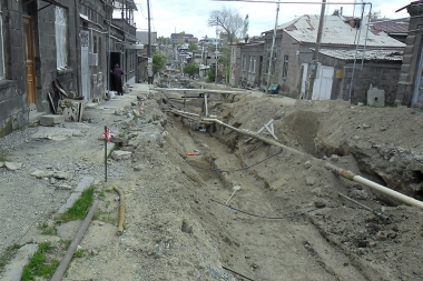 Reconstruction continues to renew Rustaveli street which is the part of Kumayri Historical Reserve of Gyumri - Photolure News Agency