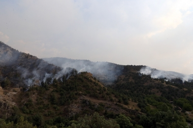 This is the second day since the workers of the Ministry of Emergency Situations try to prevent the fire on forests of Artavan village of Vayots Dzor Province - Photolure News Agency