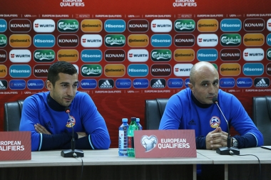 Head coach of the Armenia national football team Artur Petrosyan and Armenian professional footballer Henrikh Mkhitaryan gave a press conference at Vazgen Sargsyan Republican Stadium of Yerevan, Armenia - Photolure News Agency