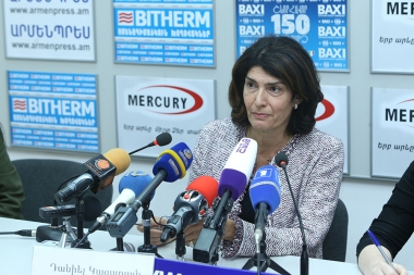 Member of the French Parliament with Armenian origin Danielle Cazarian gave a press conference in Armenpress news agency - Photolure News Agency