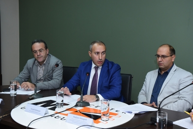 RA Deputy Minister of Justice Suren Krmoyan, Head of HCA Vanadzor Office Artur Sakunts and Member of Public Monitoring Group for Public Oversight Robert Revazyan are guests at the Media Center - Photolure News Agency