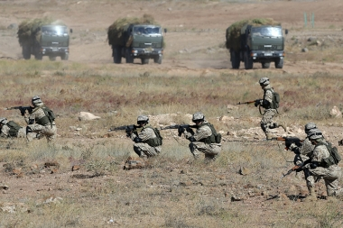Representatives of the Collective Rapid Response Forces of the Collective Security Treaty Organization and the Unified Grouping of the Armed Forces of Russia and Armenia hold a joint military exercises under the slogan of 'Interaction-2017' at 'Baghramyan' military training center of the RA Ministry of Defense - Photolure News Agency
