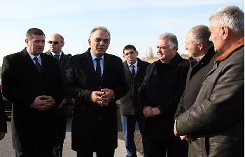 RA Minister of Transport and Communication Gagik Beglaryan attended the opening of Abovyan-Nor Geghi-Yeghvard-Ashtarak new road in Kotayk Province - Photolure News Agency