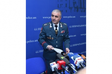 First Deputy Chief of Police, Lieutenant-General Hunan Poghosyan and others gave a press conference at the Public Relations and Information Department Hall of the RA Police - Photolure News Agency