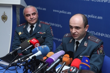 Head of the Traffic Police Legal Department Arman Chilingaryan gave a press conference at Police Public Relations and Press Department - Photolure News Agency