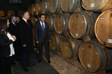 President of Moldova Igor Dodon paid a visit to the Yerevan Brandy Factory within the framework of his official visit to Yerevan, Armenia - Photolure News Agency