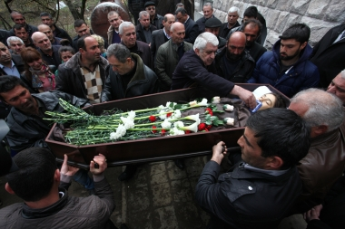 Farewell ceremony was served to the 12-year-old child Vagharshak Grigoryan from Her-Her village of Martuni Region who was one the first victims during clashes that erupted on 02 April 2016 as part of a territorial conflict between the Nagorno-Karabakh and Azerbaijan - Photolure News Agency