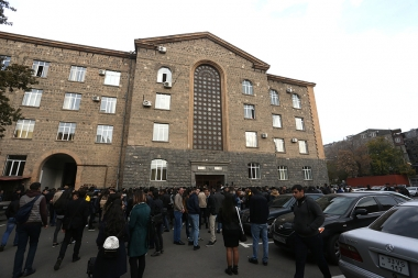 This is the sixth day since the students of the institutions of higher education hold a strike action against the law on conscription in front of the universities of Yerevan, Armenia - Photolure News Agency
