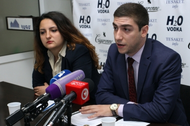 Members of 'For the law' coordination group Arman Ghukasyan, Tsovinar Kostanyan and local producers are guests in Tesaket press club - Photolure News Agency