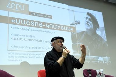 A meeting-briefing with the composer, author of 'Mashtots-Komitas' project Vahan Artsruni and representatives of project's creative, organizational team gave a press conference at the AGBU - Photolure News Agency