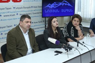 Editor-in-Chief of 'Analitik' Website Ani Hovhannisyan, advocate Liparit Simonyan and head of 'Helsinki Association' Nina Karapetyants are guests in Noyan Tapan press club - Photolure News Agency