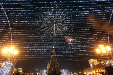 Festive firework near the main Christmas tree on the occasion of the New Year's Eve took place on the Republic Square of Yerevan, Armenia - Photolure News Agency