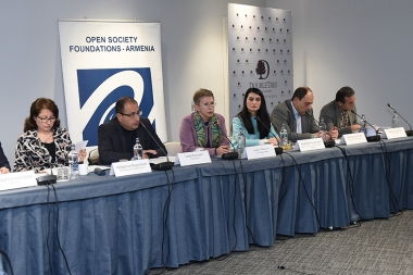 A public discussion on the topic of the 'Civil Society Review on Judicial and Criminal Codes and Public Disclosure' organized by the Open Society Foundations Armenia, in conjunction with the Justice Group created under its legal framework took place at DoubleTree by Hilton Hotel - Photolure News Agency
