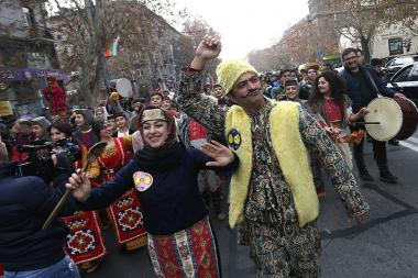 National mask parade on the occasion of 'Bun Barekendan' from the Saint Sarkis Cathedral heading to the Freedom Square took place in Yerevan, Armenia - Photolure News Agency