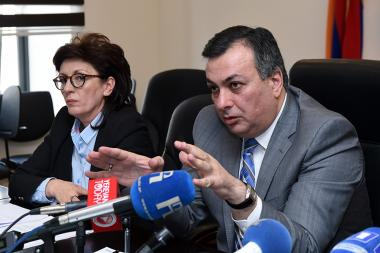 RA Minister of Culture Armen Amiryan, director of the National Cinema Center Shushanik Mirzakhanyan and artistic director of the center Arsen Baghdasaryan gave a press conference at the RA Ministry of Culture - Photolure News Agency