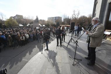 'Armenian Renaissance' Diaspora organization joint with the 'For the State of Armenia' front organized a rally on human rights violations, release of political prisoners and the removal of the current illegal authorities on Freedom Square - Photolure News Agency