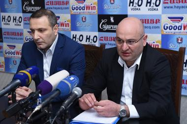 Director of ABC Law Center, human rights activist Ara Khachatryan and head of 'Penalty' public association Artak Khachatryan are guests in Hayatsk press club - Photolure News Agency