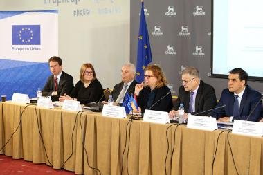 RA Minister of Justice Davit Harutyunyan, Head of the EU Delegation to Armenia Piotr Switalski and Head of the CoE Office in Yerevan Natalia Voutova attended the round table discussion on the draft Criminal Code of the Republic of Armenia at Erebuni Plaza BC - Photolure News Agency