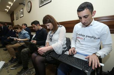 Journalists hold a protest action in front of the Municipality of Yerevan - Photolure News Agency
