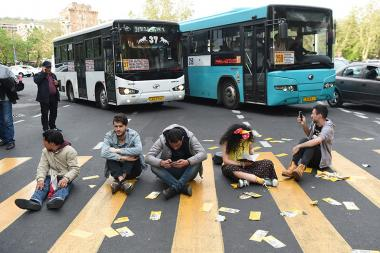 A group of young people during the protest action closed the French Square of Yerevan - Photolure News Agency