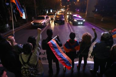 'My Step' and '#merjirserjin' initiatives have blocked the French Square during the protest action against Serzh Sargsyan in Yerevan, Armenia - Photolure News Agency