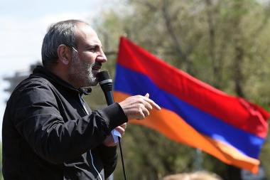 Nikol Pashinyan and '#merjirserjin' initiative continue for a third day protest action on French Square of Yerevan, Armenia - Photolure News Agency