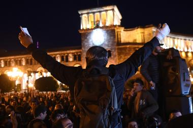Activists of '#merjirserjin' initiative under the leadership of MP Nikol Pashinyan hold a protest rally against former Armenian president Serzh Sargsyan to the post of Prime Minister on the Republic Square of Yerevan, Armenia - Photolure News Agency