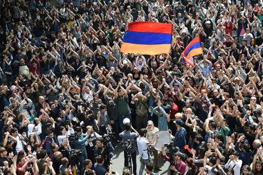 Members of '#merjirserjin' initiative under the leadership of the Armenian MP Nikol Pashinyan continue the opposition rally against nomination of former Armenian president Serzh Sargsyan to the post of Prime Minister holding civil disobedience on French Square of Yerevan, Armenia - Photolure News Agency