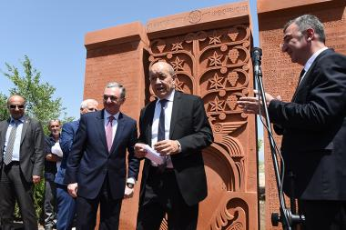 Minister for Europe and Foreign Affairs of France Jean-Yves Le Drian accompanied with the RA Foreign Minister Zohrab Mnatsakanyan paid a visit to the Musa Dagh Memorial - Photolure News Agency