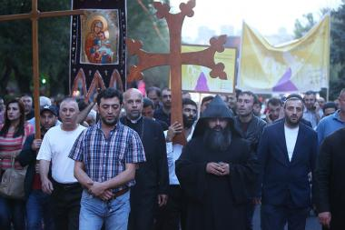 A protest action demanding the resignation of the Catholicos Karekin II with slogan 'New Armenia, new Catholicos' takes place in Yerevan, Armenia - Photolure News Agency