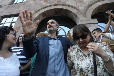 Jirair Sefilian and his friends were released after the trial from the Court of Appeal of Yerevan, Armenia - Photolure News Agency