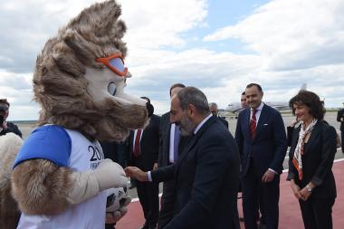 Official mascot of the 2018 FIFA World Cup Zabivaka welcomes the Armenian delegation headed by the RA Prime Minister Nikol Pashinyan in Moscow, Russia - Photolure News Agency