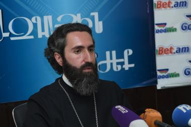 Priest Asoghik spoke about the issue of the Holy Geghard kept in the Mother See of Holy Etchmiadzin at Blitz Info press club - Photolure News Agency