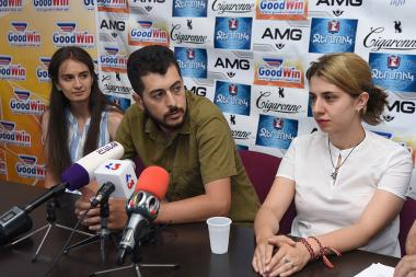Members of 'Amulsar without the mine' initiative Gegham Ohanyan, Sona Rushanyan and Mery Serobyan are guests in Tesaket press club - Photolure News Agency