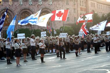 A solemn event dedicated to the 100th anniversary of the Homenetmen (Armenian General Athletic Union) took place on Republic Square of Yerevan, Armenia - Photolure News Agency