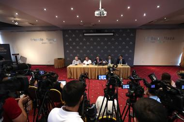 Viktor Soghomonyan and advocates of Robert Kocharyan Aram Orbelyan, Ruben Sahakyan, Sargis Grigoryan, Hayk Alumyan gave a press conference at the Erebuni Plaza BC - Photolure News Agency