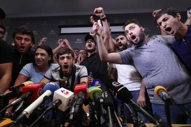 Members of 'Privet Rob' initiative entered the Erebuni Plaza Hotel and prevented the press conference of the second president of Armenia Robert Kocharyan in Yerevan, Armenia - Photolure News Agency