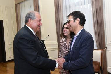 RA President Armen Sarkissian received film director Atom Egoyan and actress Arsinée Khanjian - Photolure News Agency