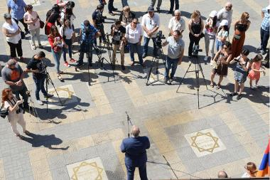 Heritage Party's pre-election campaign ahead of the mayoral elections in Yerevan started from the Charles Aznavour Square - Photolure News Agency