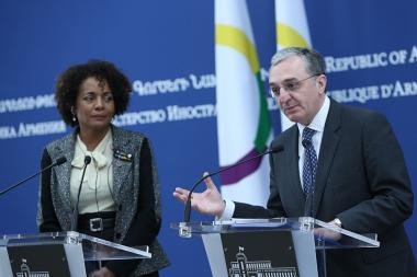 RA Minister of Foreign Affairs Zohrab Mnatsakanyan and Secretary General of the International Organization of La Francophonie Michaelle Jean gave a joint press conference - Photolure News Agency
