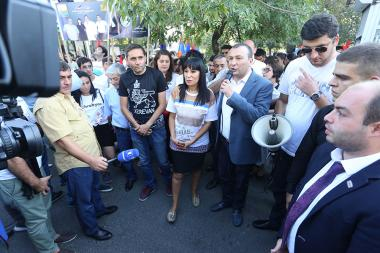 'Prosperous Armenia' party started its pre-election campaign ahead of the mayoral elections in Yerevan from the monument of Davit Anhaght in Kanaker-Zeytun administrative district of Yerevan, Armenia - Photolure News Agency