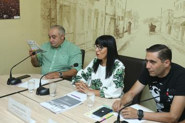 City Council candidates from Prosperous Armenia Party Naira Zohrabyan, Petros Ghazaryan and Arman Abovyan gave a press conference in 'Article 3' press club - Photolure News Agency