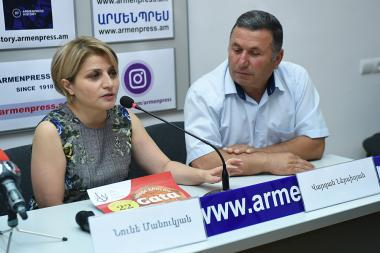 Head of the RA State Tourism Committee Hripsime Grigoryan, President of Tourism Development Foundation Ara Khzmalyan and Director of 'Areni Festival' Foundation Nune Manukyan gave a press conference in 'Armenpress' news agency - Photolure News Agency